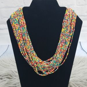 Talbots Colorful Multi Strand Seed Bead Necklace